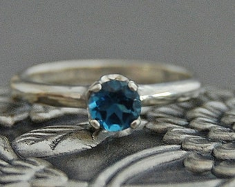 Azula - Diamond Alternative London blue Topaz ring, Argentium silver, engagment ring, promise ring, wedding, gift idea, for her, November