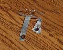 Why Be Normal? Hand Forged Asymmetrical Sterling & Gemstone  Earrings plus Free USA Shipping!