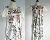 Vintage Mexican Dress 1970s Dress Hippie Clothing Womens Maxi Dress Floral Embroidered Long Dress Mexican Wedding Dress Extra Small to Small