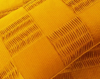 sunshine yellow, pleated patchwork queen size coverlet,102x116inches with pillows 20x30 inches,solid colour bedding