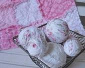 Shabby Rag Balls Tattered  Fabric Balls White and Pink Rose Prints Set of 7