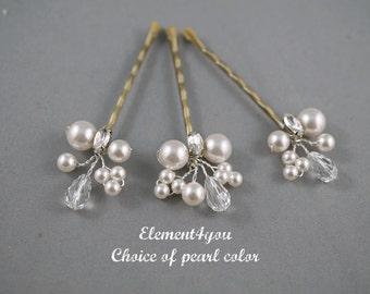 Pearl Hair Clips, Bridal Hair Pins, Wedding Hair Accessories, Swarovski Pearl Wedding Hair Pins, Set of 3, Floral Vine, Blonde hair clips