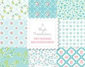 TURQUOISE Florals  PATTERNED BACKGROUND set in Bright Pastels for personal and commercial use - digital papers, vintage, retro