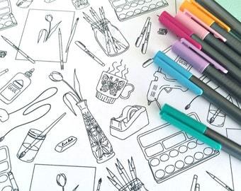 Printable ART SUPPLIES Coloring Page!- Digital File Instant Download- paints, glue gun, mason jar, pens, adult coloring
