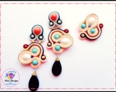 50% OFF Earrings dangle drop and ring set Pink black turquoise Soutache Handmade Embroidered Birthday gift for girlfriend all items on sale