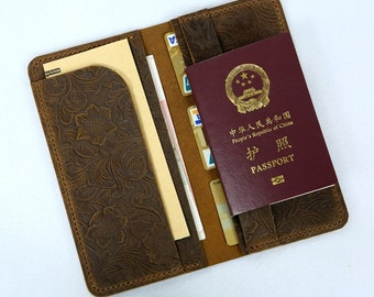 Women flower embossing leather travel long wallet boarding pass holder / travel passport wallets TW015S