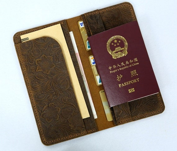 Leather Passport Document Boarding Pass Travel Wallet Purse With Wrist Strap NEW