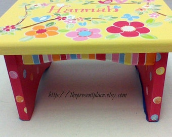 Hand painted personalized step stool,girls step stool,children's bench,kids furniture,kid's step stool,yellow and pink,flowers and animals