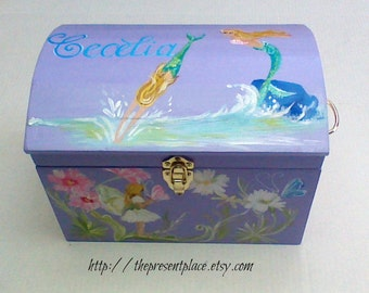 large box,girly keepsake box,fairies,mermaids,ballerina, purple,doll clothes storage box,kids boxes,children's memory box,doll storage trunk