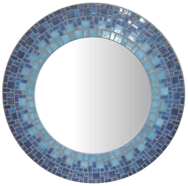 Blue mosaic mirror round for Mosaic mirror