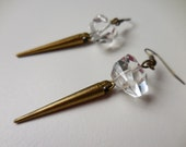 Crystal Spike Earrings - Quartz Crystal Earrings with Antique Brass Spikes