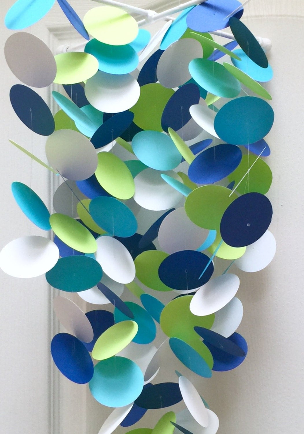 Baby mobile in lime green aqua navy blue and white or for Lime and blue