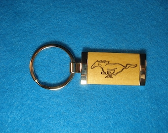 Wood Key Chain for Ford Mustang Lovers - Laser Engraved .  Great Birthday Gift or Christmas Gift or Stocking Stuffer!