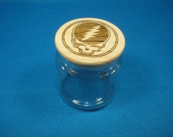 STEAL YOUR FACE 16oz Apothecary Jar with laser engraved wood lid - Great way to store your Cannabis. Great Christmas Gift!