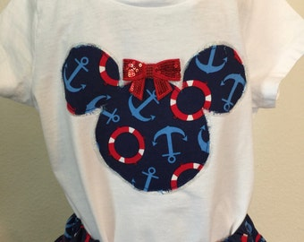 Bon Voyage!  Girls' twirly skirt & shirt set, perfect for Disney Cruises and parks