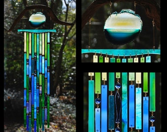 Wind Chimes Recycled Beach Glass Sea Glass Suncatcher Driftwood Wind Chimes Stained Glass Sun Catcher - The Deep Blue Sea