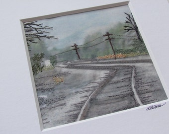 Embroidered Photography Textile Art Railroad, Virginia