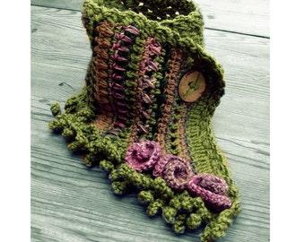Spring green floral scarf crochet neckwarmer boho fringe freeform fairy rose wool Bohemian clothing