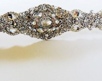 Isabella Bridal Wedding Dress Rhinestone Crystal Embellished Belt Sash Vintage Wedding Art Deco