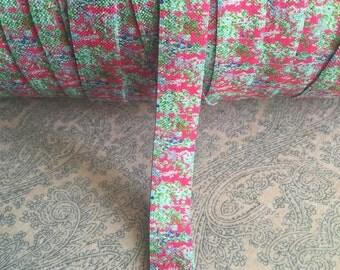 "5/8"" Elastic PINK Green Floral Custom Fold Over Elastic (FOE) Pink, Minty Blue/Green Print"