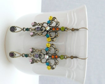 nd-Antique Bronze Filigree Dangle Earrings with Multicolor Rhinestones