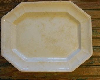 "Antique White Ironstone Platter J. F,  Octagon Shape 12""  x 15 1/2"" Jacob Furnival Staffordshire"