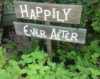 Wedding Sign on Stake Rustic Western Barn Wood on Stake Country Happily Ever After Ready to Ship