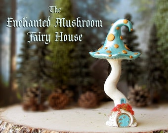 The Enchanted Woodland Mushroom Fairy House - Pearl Blue Capped Woodland Fae House with Gold Spots, Round Fairy Door & Flowering Window Box