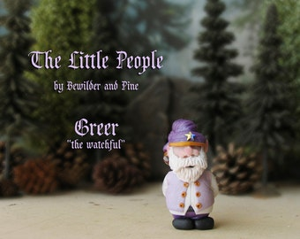 Greer - Miniature Hob - Household Gnome or Elf Figurine - Helpful Spirit - Little People by Bewilder and PIne - Polymer Clay Sculpture
