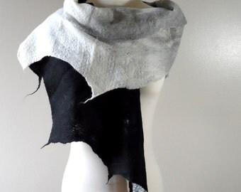 Felted Scarf - Monochrome - black white grey wrap