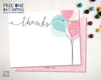 Balloon Party Shower Invitation Instant Download Thank You Card