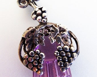 Beautiful Vintage Deco Sterling Grape Amethyst Moonstone Glass Pendant Necklace
