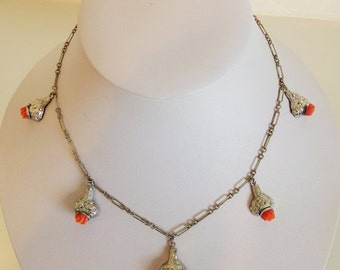ON SALE Pretty Vintage Silver & Faux Coral Charm Necklace