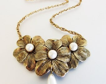 Lovely Vintage Stamped Brass and Faux Pearl Necklace