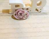 ceramic pendant connector for romantic bracelet letter M  poppy in the sky high fired jewel pink