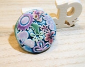 handmade ceramic clay pendant connector with 2 sides -flower power poppy in the sky - for necklace