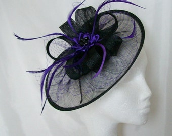 Black Sinamay Saucer & Cadbury Purple Veiling Loop and Feather Aurora Fascinator Hat Headpiece Ascot Derby- Made to Order