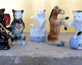 Animal Figurines Vintage Antique Porcelain Animals Elephant Horse Cat Bear Set of Glazed Animal Figurines