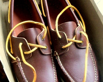 Sperry Top Siders Boat Shoes Vintage Leather Moccasins Size 8W America's Cup with Original Box Natural Color