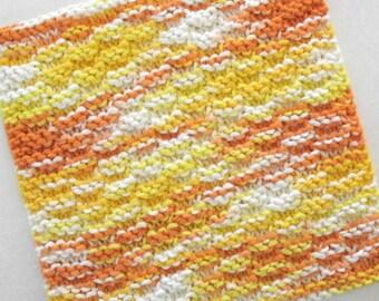 Cotton Dishcloth, Knitted Dishcloth, Yellow Kitchen Decor, Yellow Orange Knit Dishcloth