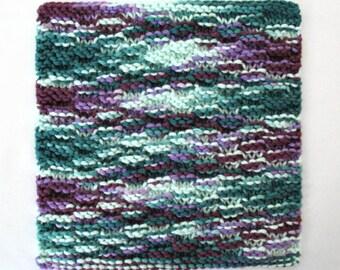 Knit Dishcloth Cotton Dishcloth Tuscan Kitchen Decor Purple Teal Knitted Dish Cloth