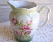 Vintage White Porcelain Floral Creamer with Pink and Green Roses