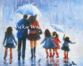 Rain Family Art Print, four daughters, four girls, father mother, rain people, four sisters, blue wall art, umbrellas, Vickie Wade Art