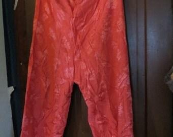 1940s Silk Brocade Japan Pajamas  bottom  pants  with high Waist     sz large  MADE japan