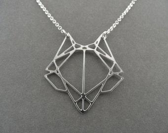 geometric fox, fox necklace, geometric necklace, fox head necklace, fox jewelry, fox pendant, gift for her, silver fox, silver jewelry
