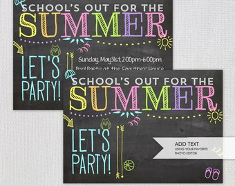 Summer Party Invitation /  School's Out Printable Invitation / Instant Download / Blank Jpeg/ INVITATION TEMPLATE / #52836