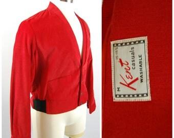 1950s Mens Corduroy Jacket by Kent - Size Medium - Red 50s Jacket - 1950s Menswear - Rockabilly / Greaser