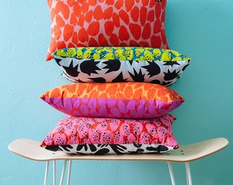 """20""""x12"""" pillows // bright & colorful screen printed lumbar decorative pillows for the home set of two // gifts for her // mothers day //"""