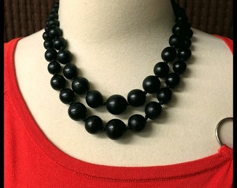 Vintage Black Wood Bead Necklace, Double Strand, Graduated, adjustable, 1980's