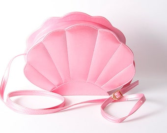 pink pearlescent mermaid sea shell bag  synthetic leather bag